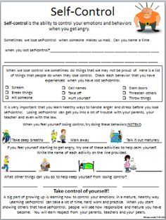 Self-Control Worksheet | Worksheets, Counselling and Impulse control