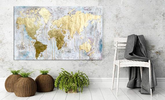 Original world map painting gold leaf abstract acrylic travel art original world map painting gold leaf abstract acrylic travel art modern wall art gumiabroncs Choice Image