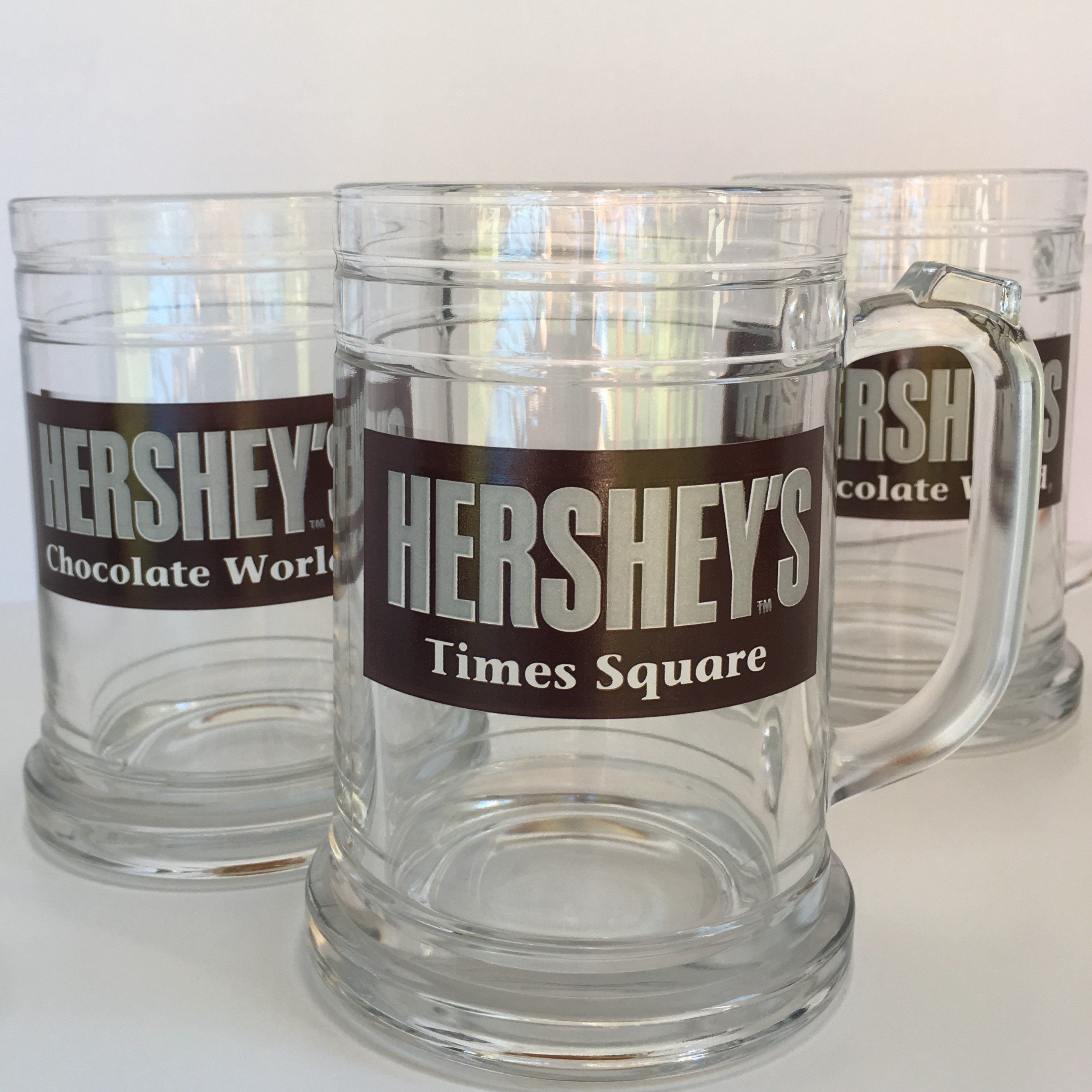 Large 5 Hershey S Glass Mug Cup Stein Times Square