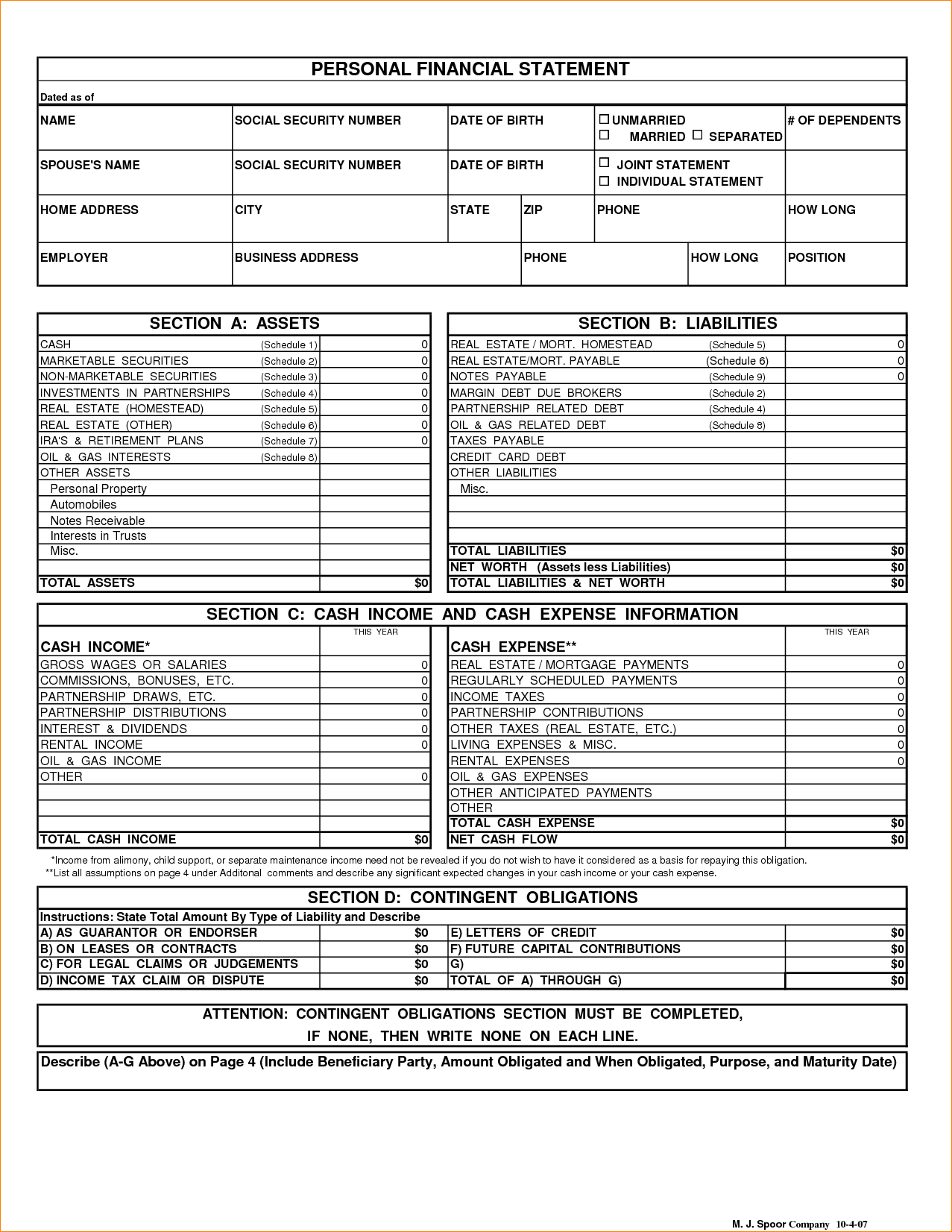 personal financial statement template free