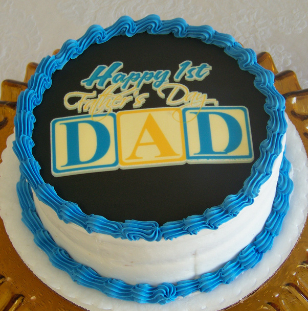 First Father S Day Cake Picture With Blue And Yellow Cake