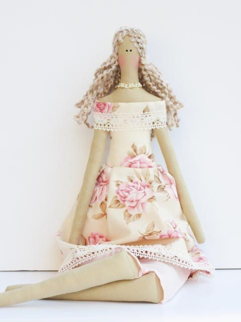 Pretty fabric doll in pink rose dress- blonde cloth doll,art doll cute stuffed doll, rag doll - Collectible shabby chic gift for girls. $42.00, via Etsy.♡