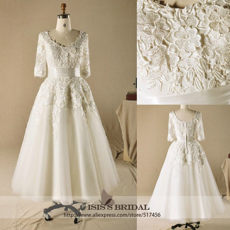 Wholesale vintage plus size v neck a line lace 3 4 sleeve for Tea length lace wedding dresses with sleeves