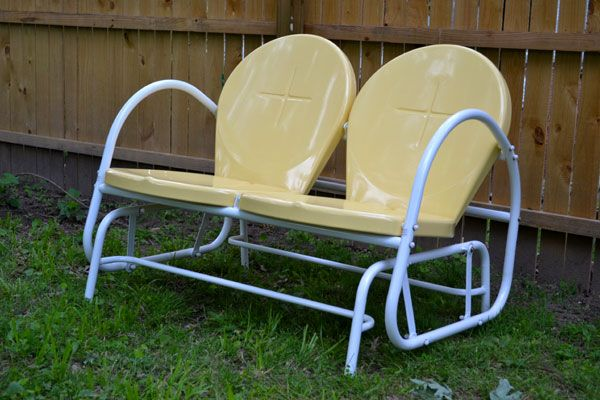 retro outdoor gliders | ... through the patio furniture department and  spotted this retro glider - New Outdoor Furniture: Sunny Yellow Retro Glider Home Furniture