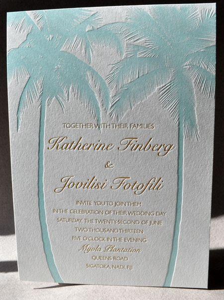 Florida Carribean Mexican Pacific Destination Weddings Beach Wedding Theme Delicate Intricate Clic Letterpress Invitation