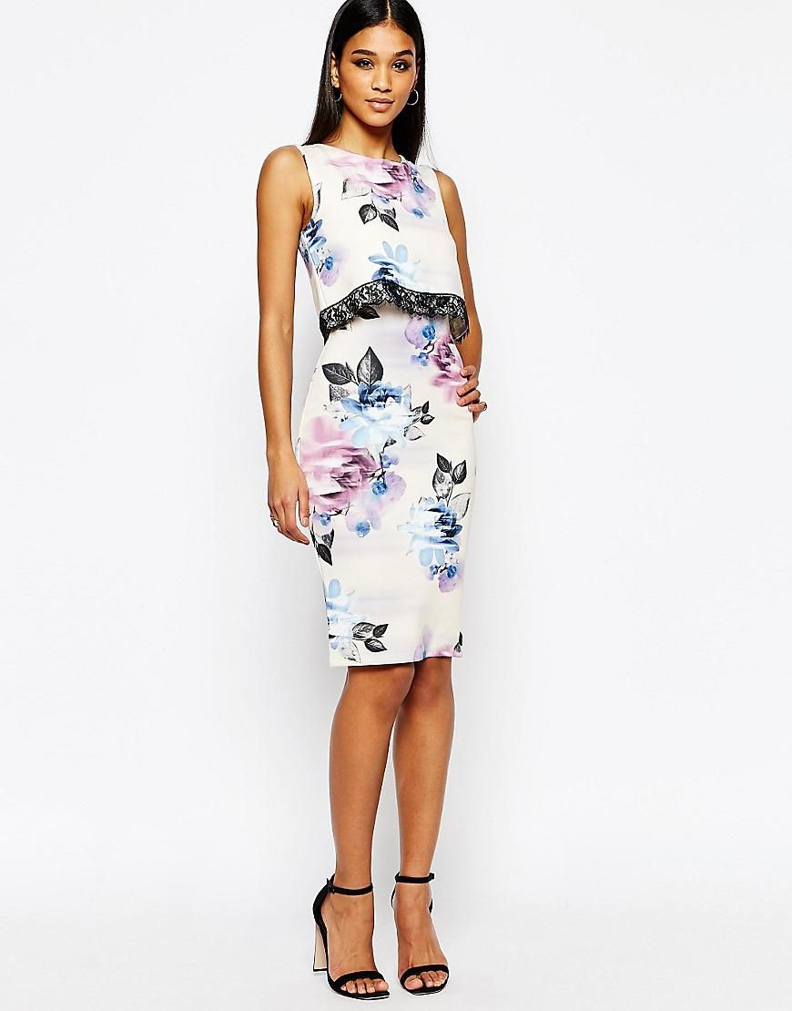 Lipsy | Lipsy 2 In 1 Pencil Dress In Allover Floral at ASOS ...