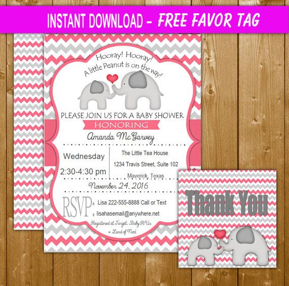 Instant Download Elephant Baby Shower Invitation Pink with Free - download free baby shower invitations