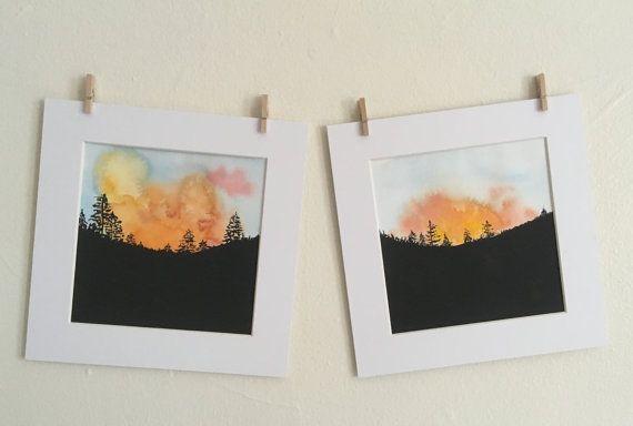 Sunset Mountain - set of 2 - Original watercolor painting