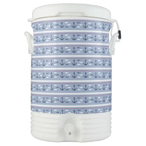 Blue Nautical Summer Igloo Beverage Dispenser