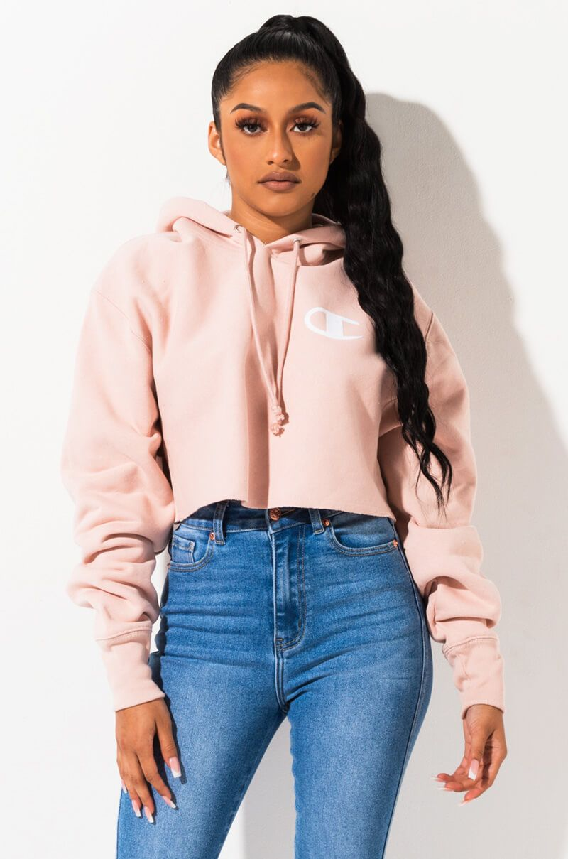 Champion Long Sleeve Cropped Pullover Sweatshirt In Spiced Almond Pink Crop Top Sweatshirt Outfit Cropped Hoodie Outfit Champion Clothing [ 1209 x 800 Pixel ]