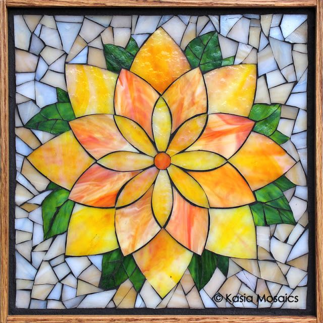 Stained glass mosaic lotus flower by kasia mosaics this for Mosaic patterns online