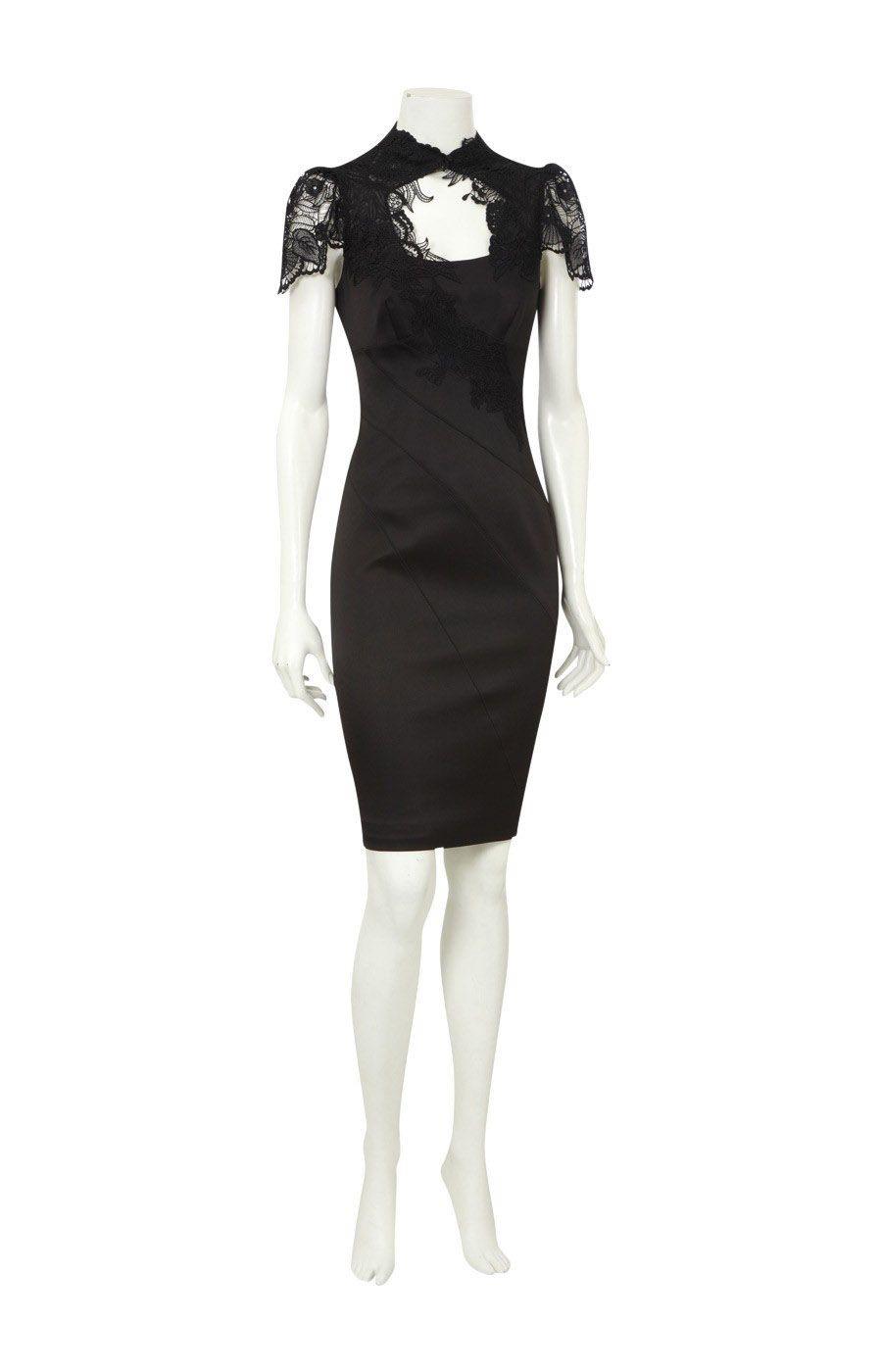 8adfeda40 karen millen Solid Color outlet uk-Karen Millen DJ104 Black Floral Applique  Dress :
