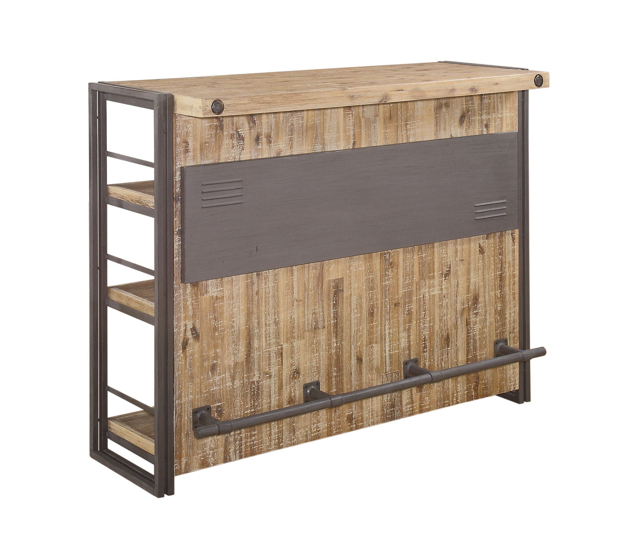 Brooklyn bar large acacia wood powder coated steel