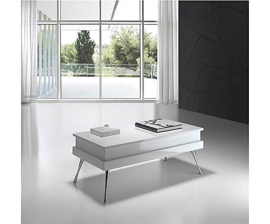 Mesa de centro elevable de acero inoxidable Selena – blanco ...
