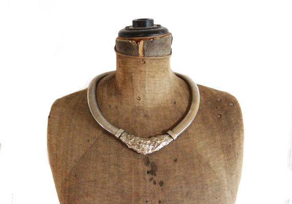 Vintage Silver Collar Necklace, Chunky Silver Collar Necklace, Silver Cleopatra Collar Necklace, Wide Silver Necklace