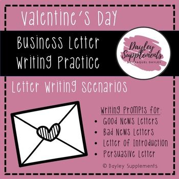 Business Letter Writing Scenarios and Prompts - Valentine Theme - business letters