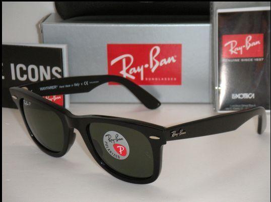 6bdaddb96f0d2 Ray-Ban RB2140 901 Wayfarer Black Frame Green Classic 50mm Lens Sunglasses