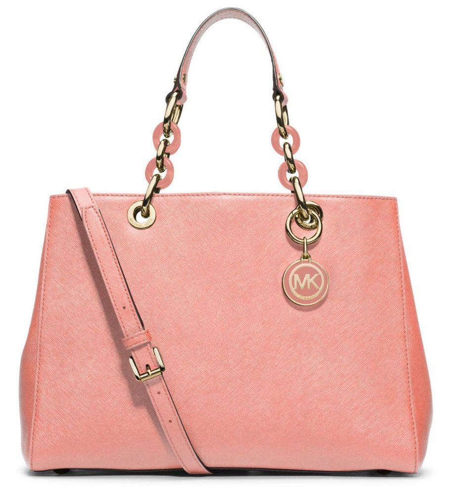 c21646e9686b NWT Michael Kors Saffiano Leather Medium Cynthia NS Satchel Purse ~Pale  Pink #MichaelKors #Satchel