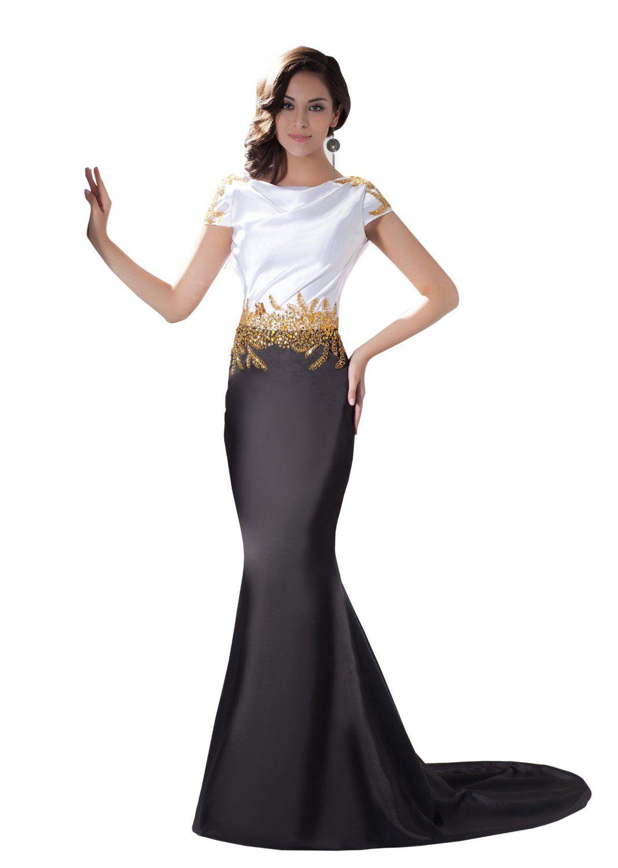 Amazon.com: Herafa Short sleeve Mermaid Evening Gowns Sweep Length ...