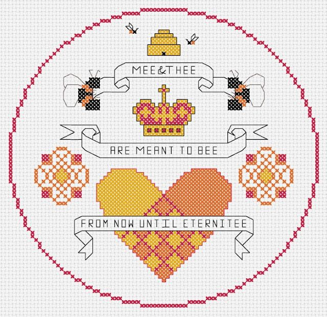 épinglé par ❃❀CM❁✿à partir de hancockshouseofhappy. Free Valentine Cross Stitch Sampler: Me & Thee are Meant to Be