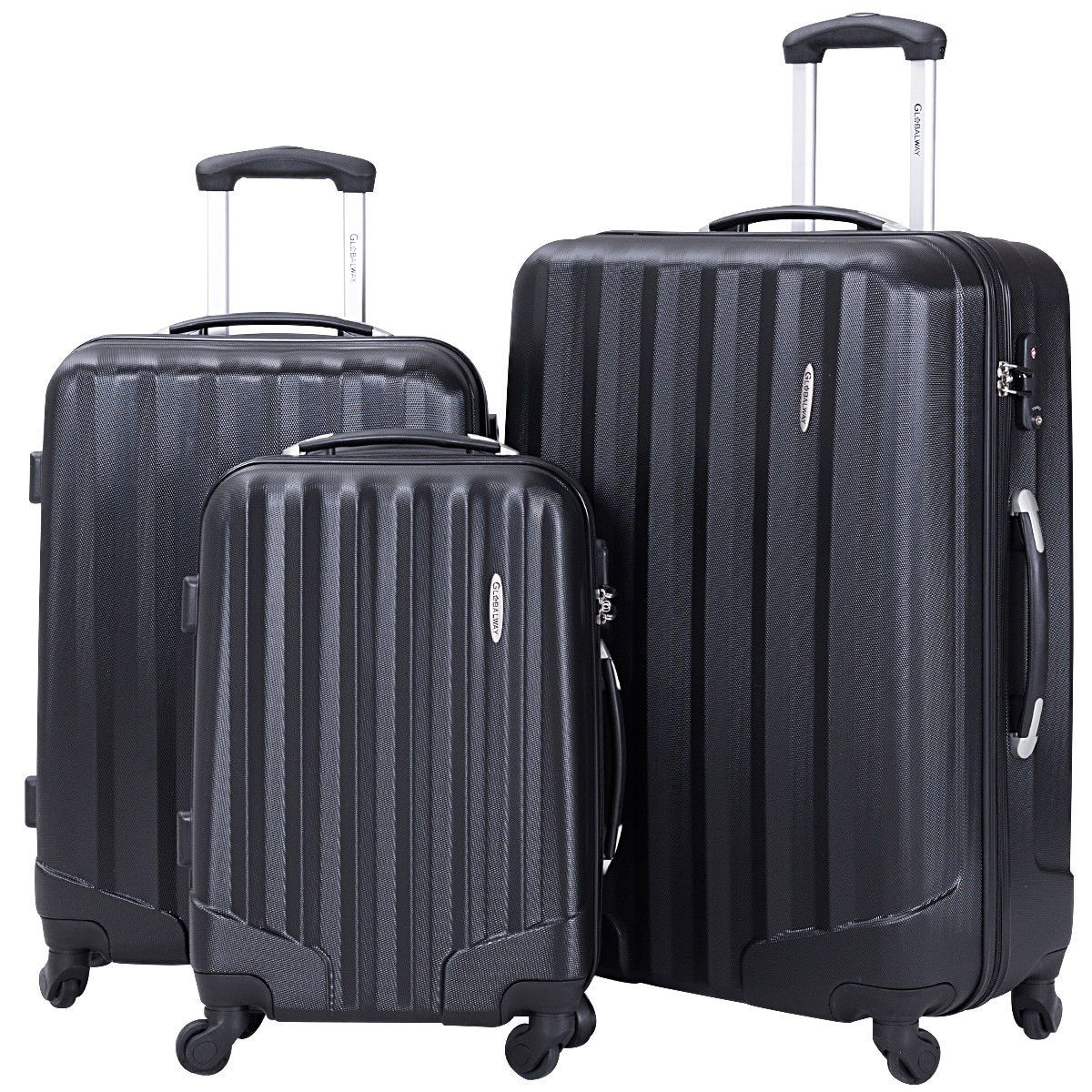 GLOBALWAY 3 Pcs Luggage Travel Set Bag ABS Trolley Suitcase w TSA Lock Black 02261d61d7fb0