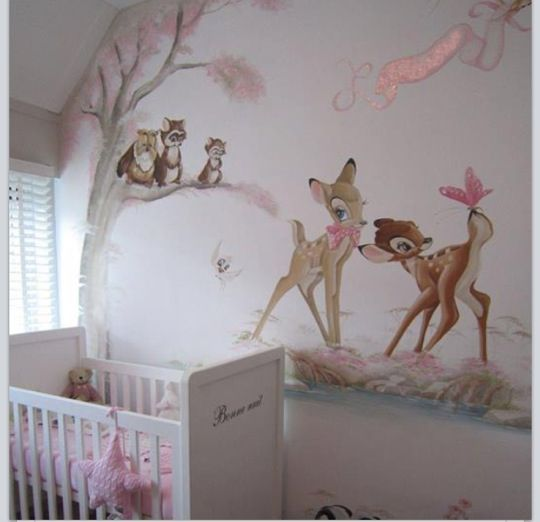 wundervolle wandgestaltung f rs babyzimmer bambi baby kinderzimmer babyzimmer pinterest. Black Bedroom Furniture Sets. Home Design Ideas