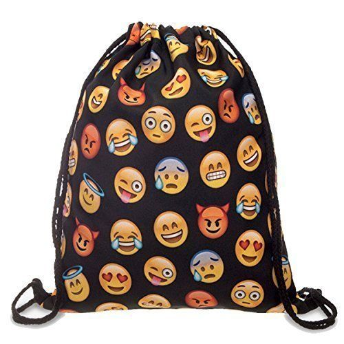"You will receive the 18""X13.75"" smooth feeling drawstring Emoji bagHappy, fun designs; Multi-Purpose Cute Backpack.This is a very basic product and yet it brought a ton of happiness to your daughter. Kids are going through the emoji phase and if there is anything Emoji, they are begging for it.This is a drawstring Emoji bag that …"