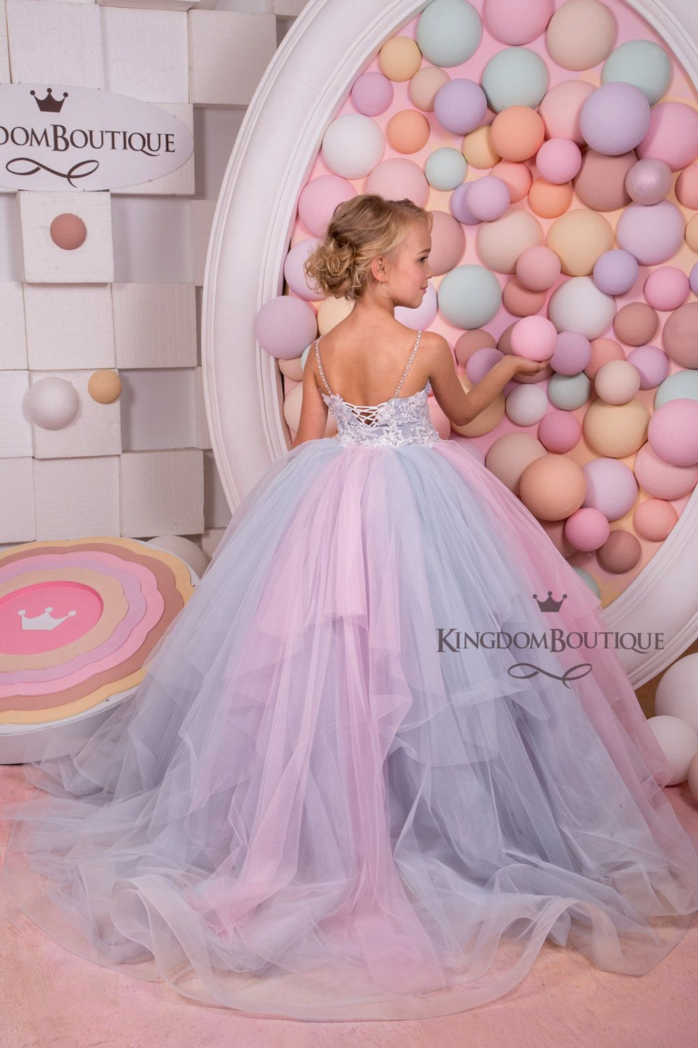 Pink And Grey Tulle Flower Girl Dress Birthday Wedding Party