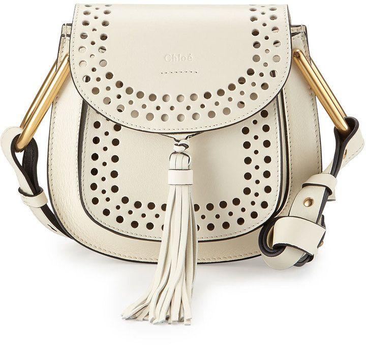 Chloe Hudson Perforated Leather Mini Saddle Bag, White
