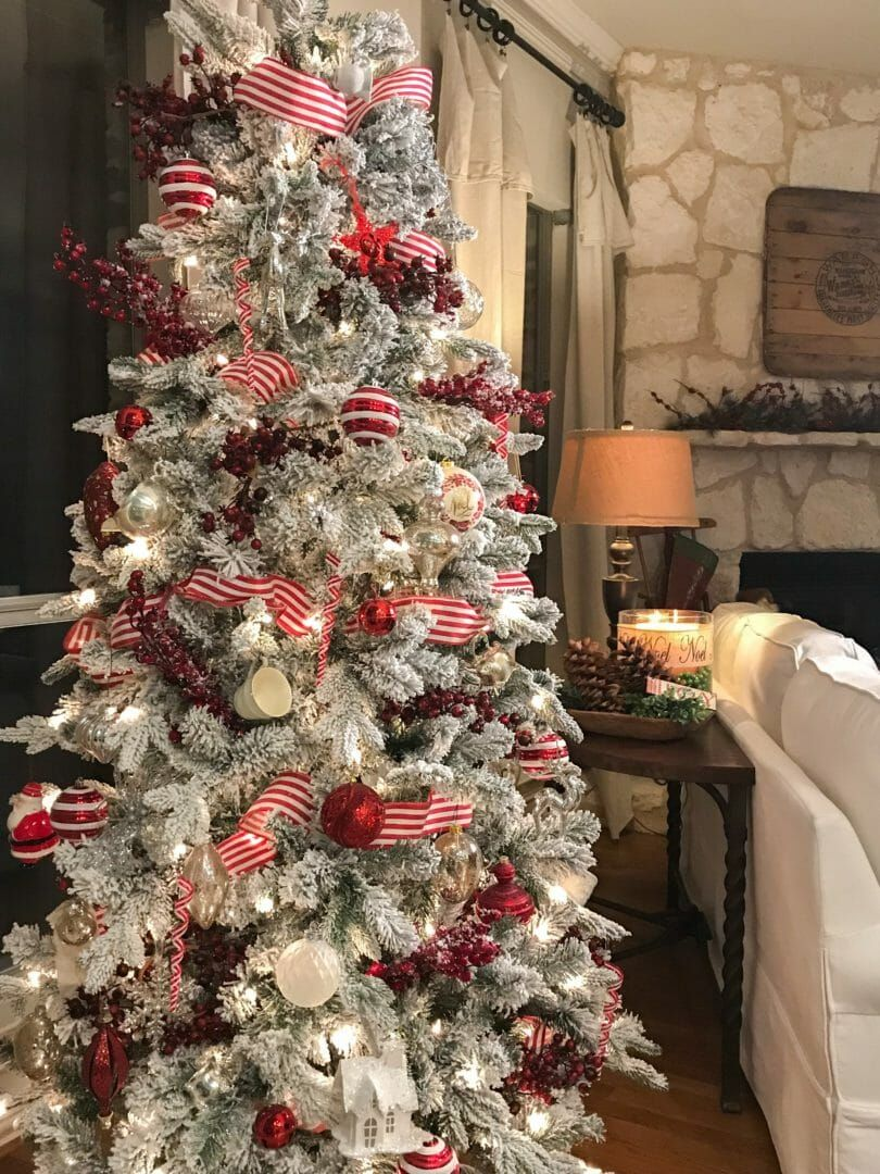 A Peppermint Striped Christmas Tree County Road 407 Christmas Tree Decorating Themes Rustic Christmas Tree Christmas Tree Topper Rustic