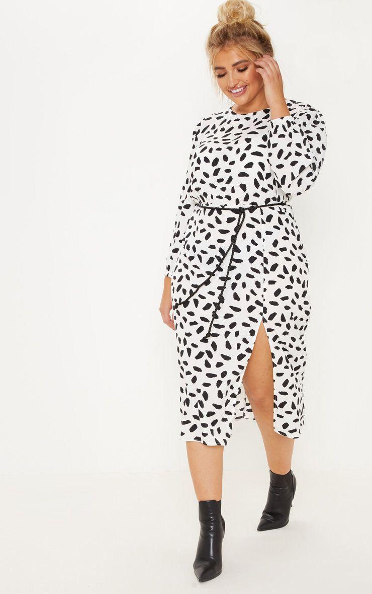 Plus White Tie Waist Dalmatian Print Midi Dress   Plus size