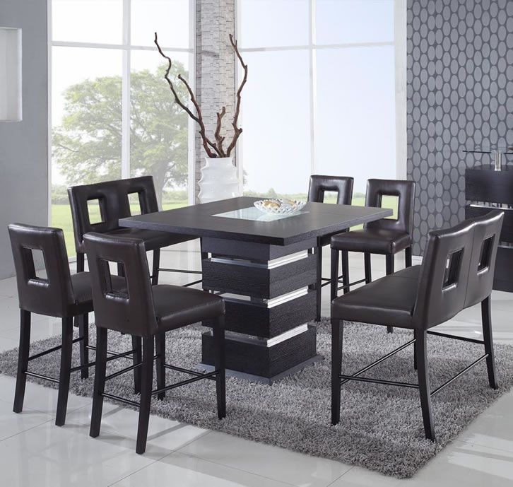 Unique Sqaure Wood And Frosted Glass Top Leather Modern Dinette Sets Chairs Knoxville Tennessee Prime Classic Design Italian Furniture Luxury