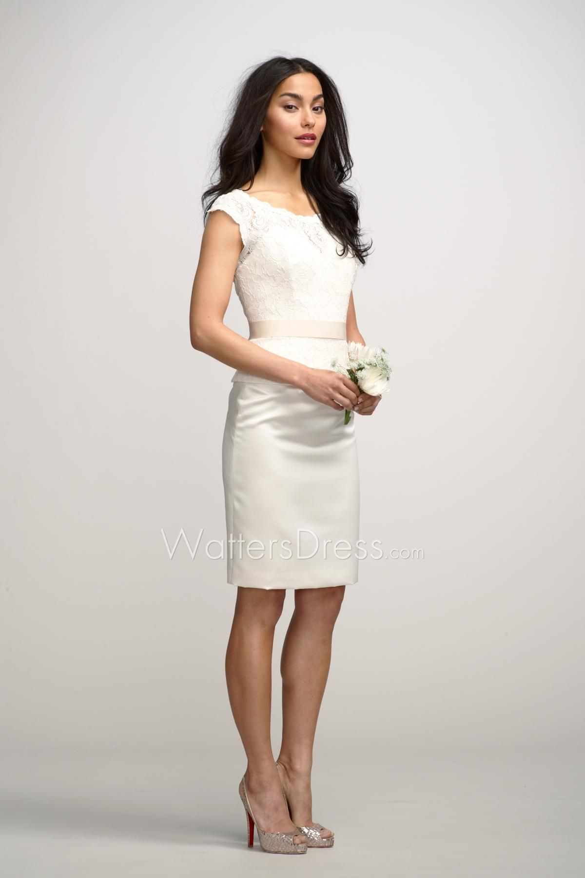 Ivory lace bateau neck short sheath designer bridesmaid dress with