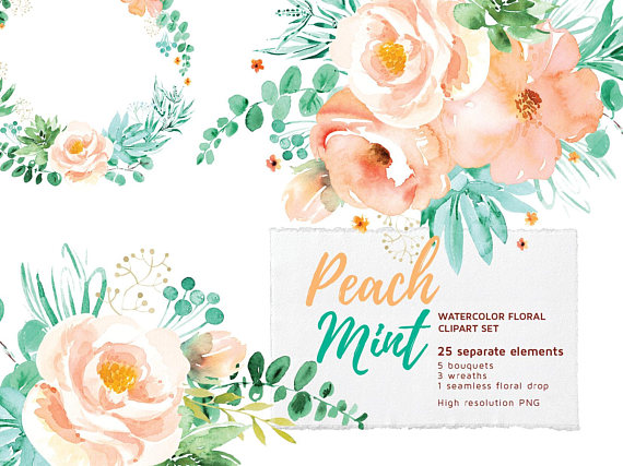 Peach Mint Floral Clipart Set Watercolor Flowers Clip Art