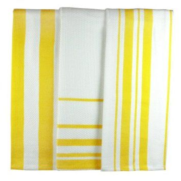Amazon.com: MUkitchen MUincotton Striped Dishtowel, Set of 3, Lemon: Home & Kitchen