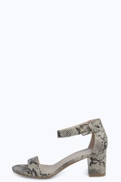 0b3f54e0c Sophie Snake Print Block Heel Ankle Strap Sandals at boohoo.com | I ...