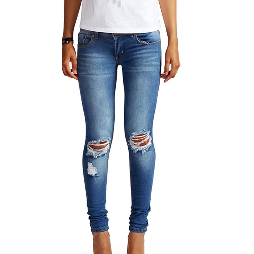 Ripped Jeans For Women Skinny Size 8 10 12 14 Faded Blue Denim ...
