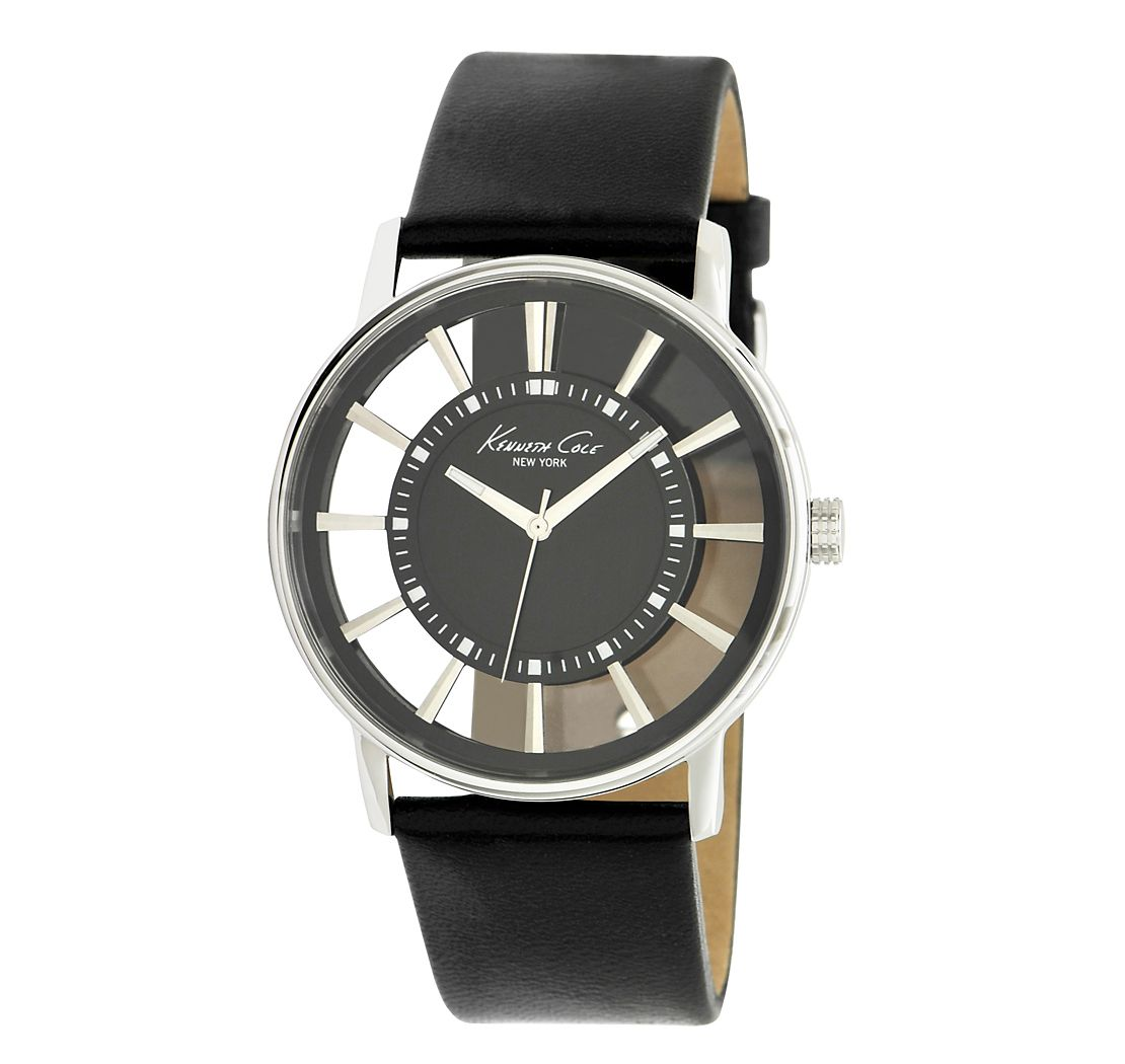 Kenneth Cole - Men's Stainless Steel Watch with Black See-Through Dial