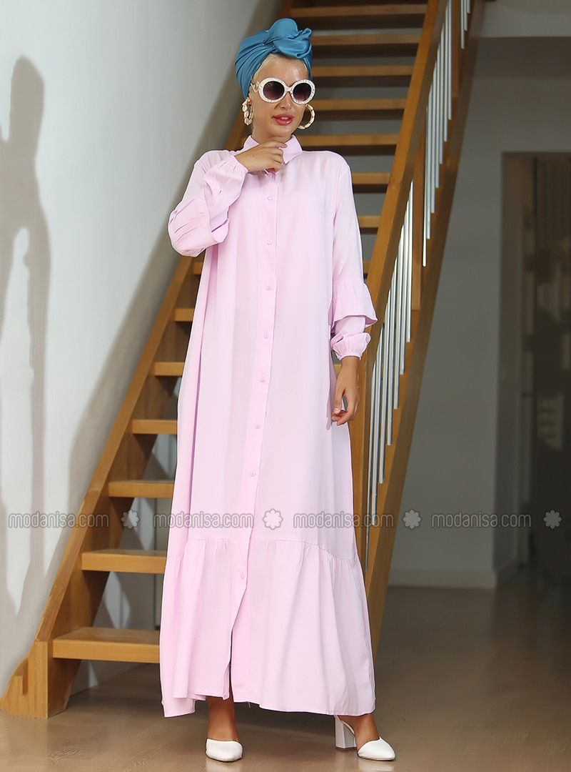 Photo of Best Hijab Dress Models Powder French collar Unlined fabric …