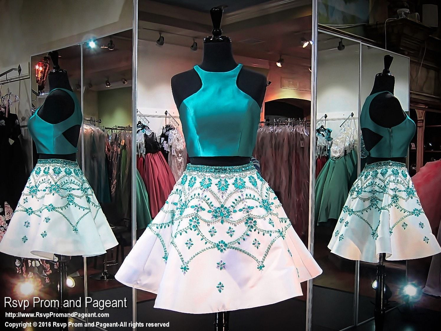 Tealwhite twopiece open back short homecoming dress homecoming