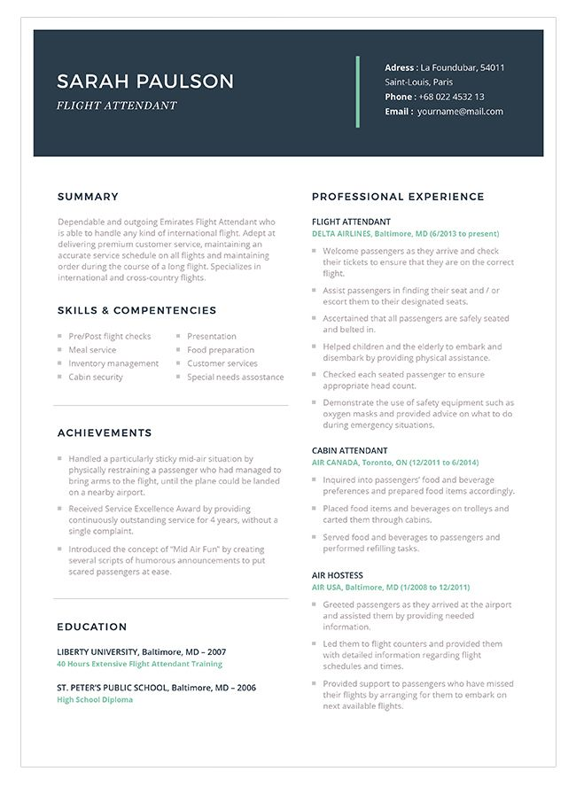 3-1 Flight Attendant Resume Template and Sample Flight attendant - ground attendant sample resume