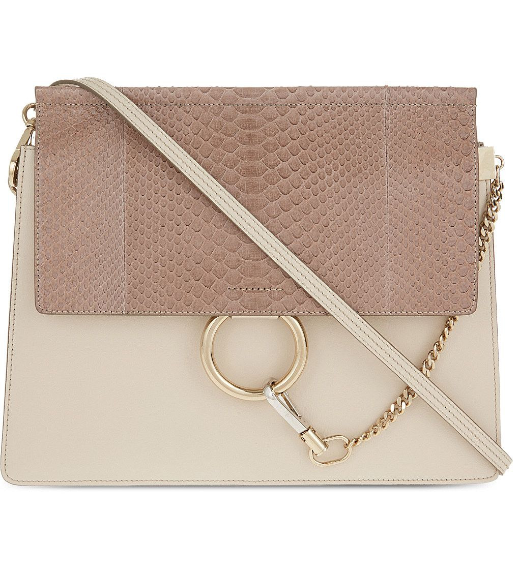 Chloe faye python & leather satchel