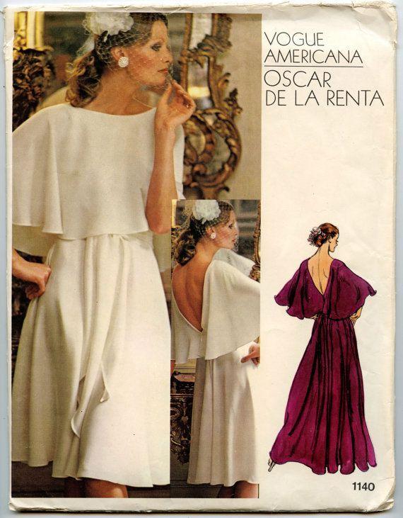 Oscar De La Renta Vogue Patterns | 1970s Dress Pattern Vogue 1140 ...