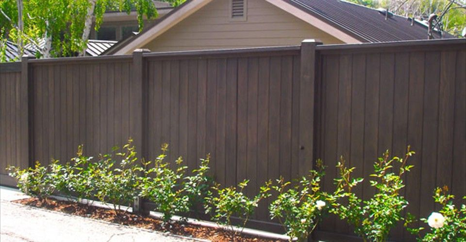 Redwood Fence fence stain | Foot High Dark Stained Redwood Fence