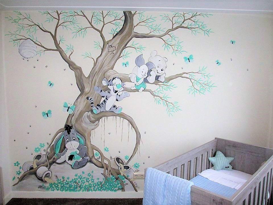 Babykamer Daphne Stijlen : Winnie the pooh muurschildering babykamer gemaakt door saskia de wit