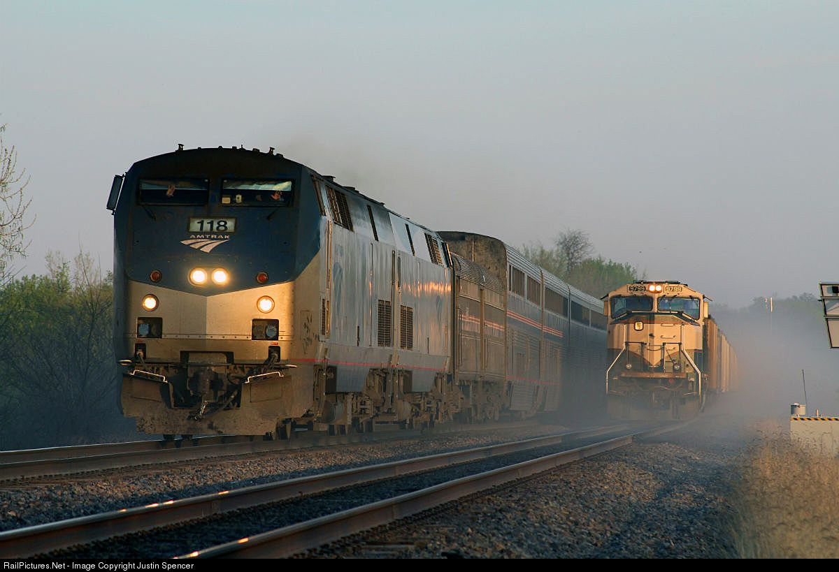 amtk 118 amtrak ge p42dc at chillicothe iowa by justin spencer amtrak iowa chillicothe pinterest
