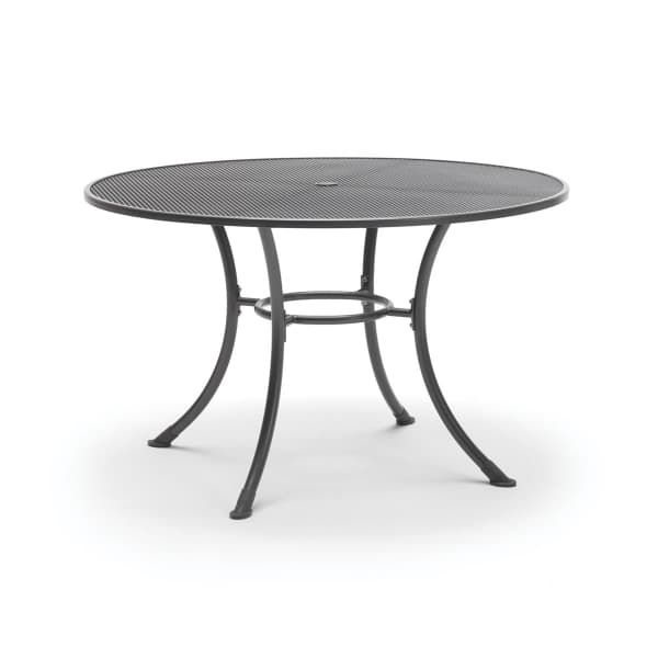 Kettler Paros 8 Seater Garden Dining Table And Chairs Set Grey: Kettler 135cm Round Mesh Top Table IRON GREY