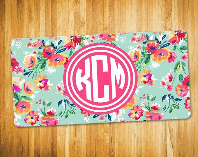 Colorful Flower Monogram License Plate - Personalized Car Tag ...
