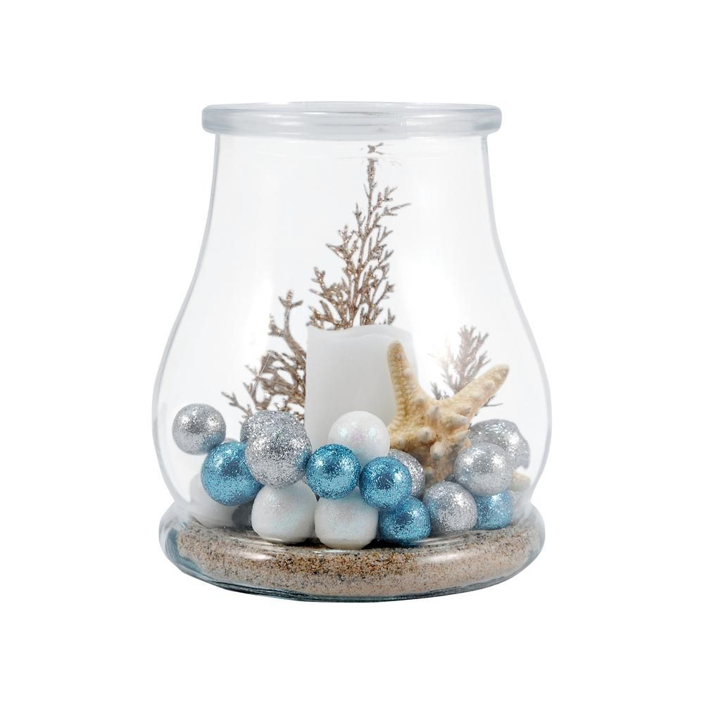 Titan Lighting Shiloh 7 In Clear Glass Hurricane Candle