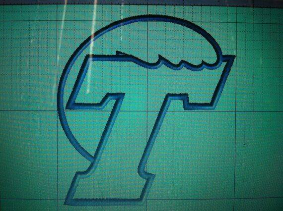 Tulane green wave applique machine embroidery by sm64embroidery